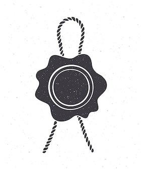 Sylwetka rocznika pieczęć woskowa lina jutowa pieczęć bezpieczeństwa ze sznurkiem na pocztę ilustracja wektorowa