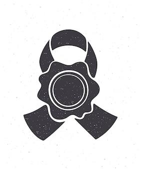 Sylwetka rocznika pieczęci woskowej ze wstążką ilustracja wektorowa ilustracja wektorowa