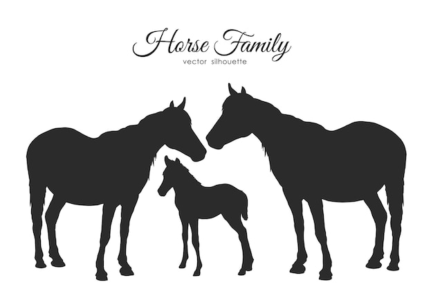 Sylwetka rodziny koni na białym tle.