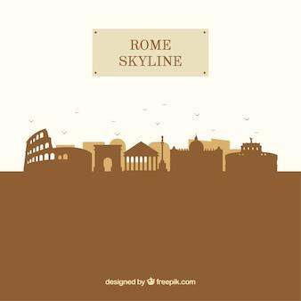 Sylwetka rome panoramę tło w stylu płaski