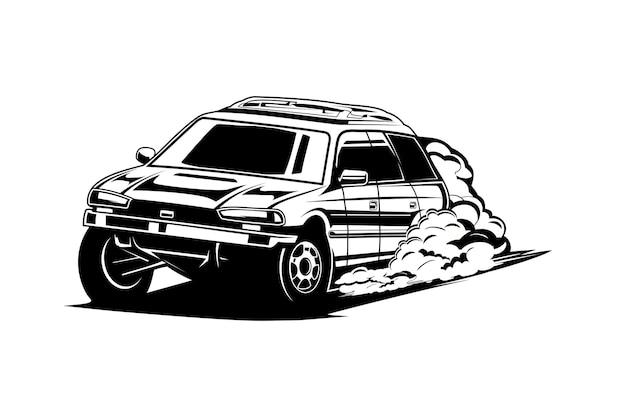 Sylwetka samochodu lub czarno-biała