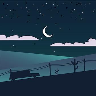 Sylwetka samochodu w górach w nocy projekt, krajobraz przyrody i motyw na zewnątrz