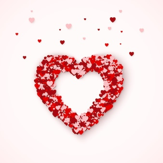 Sylwetka serca, ramka serca składa się z konfetti serduszka. koncepcja karty happy valentines day