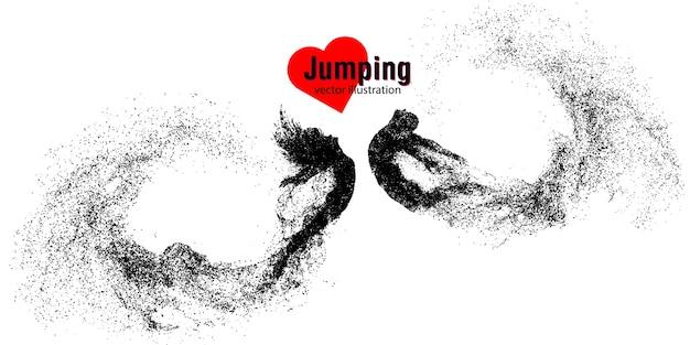 Sylwetka skaczącego mężczyzny i kobiety