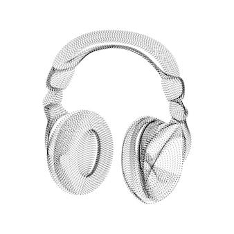Sylwetka słuchawek składająca się z czarnych kropek i drobinek. szkielet wektor 3d urządzenia audio z teksturą ziarna. abstrakcyjna geometryczna ikona z kropkowaną strukturą na białym tle