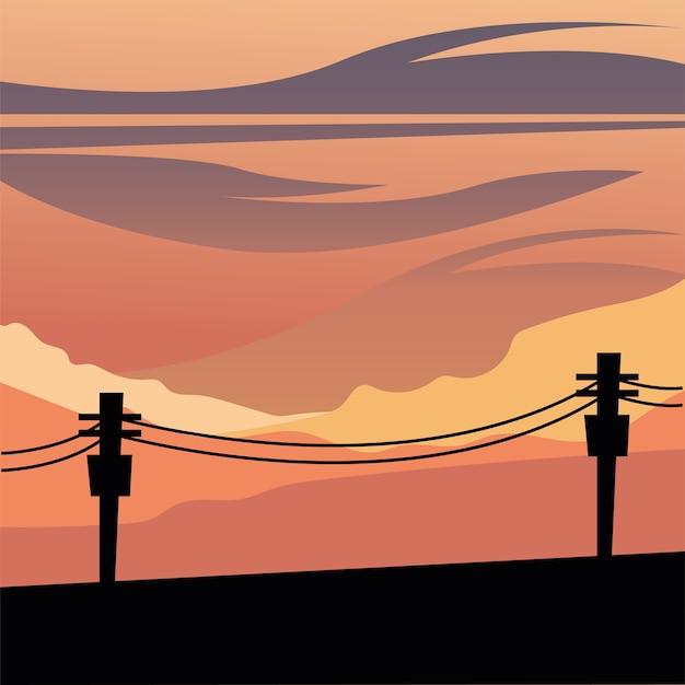 Sylwetka słupów świetlnych przed projektem pomarańczowego nieba, krajobraz przyrody i motyw zewnętrzny