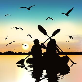 Sylwetka śmieszne dziewczyny kayaking.