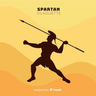 Sylwetka spartańskiego wojownika z oszczepem