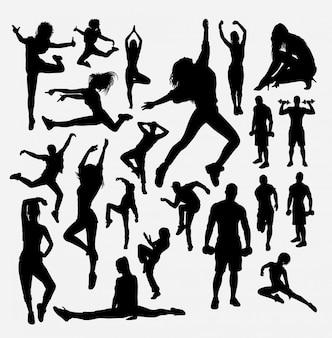 Sylwetka sportowa. dobre wykorzystanie symbolu, logo, ikony internetowej, maskotki, naklejki