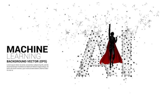 Sylwetka superbohatera latającego z wielokątem kropka łączy ai w kształcie linii. koncepcja uczenia maszynowego i sztucznej inteligencji.