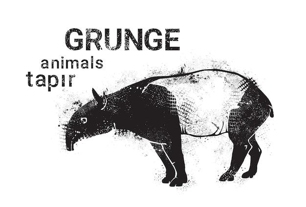 Sylwetka tapir w stylu grunge design ikona zwierząt