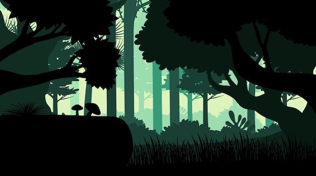 Sylwetka tła krajobrazu dżungli