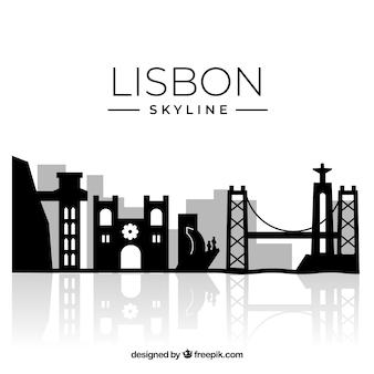 Sylwetka tło panoramę lizbony