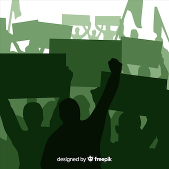Sylwetka tłum ludzi z flagami i transparentami w manifestacji