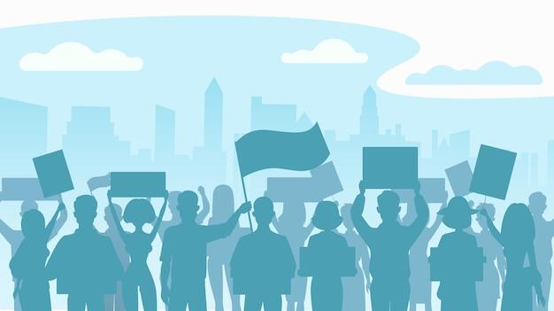 Sylwetka tłum protestujących ludzi. protest, rewolucja, konflikt w mieście. mieszkanie