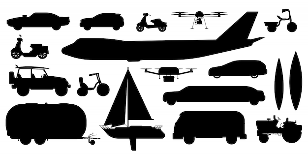 Sylwetka transportu pojazdu. pasażerski transport publiczny, prywatny. na białym tle samochód, autobus, samolot, karawana, dron, jacht żaglowy, rowerowy pojazd kolekcja ikona płaski