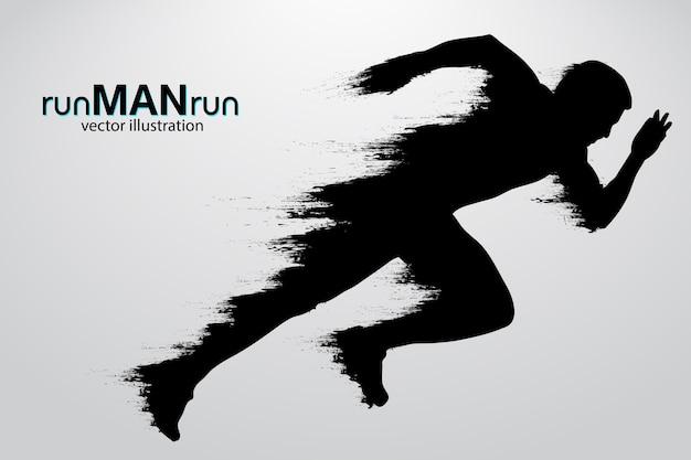 Sylwetka uciekającego człowieka. ilustracja