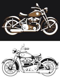 Sylwetka vintage biker motocykl boczny widok na białym tle, stare logo jeźdźca w stylu czarno-białym