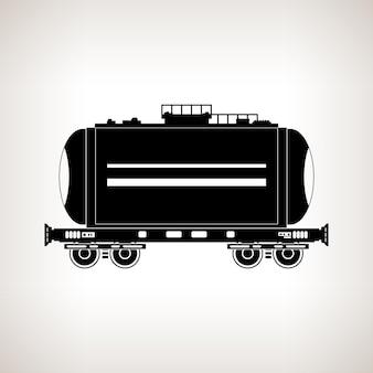 Sylwetka wagonu cysterna do przewozu ładunków płynnych i sypkich, olej, gaz płynny, mleko, cement, mąka, woda na jasnym tle, czarno-biały ilustracja wektorowa