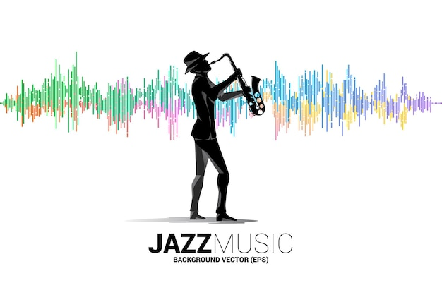 Sylwetka wektor człowieka i saksofon stojący z tłem korektora muzyki. koncepcja tło dla koncertu muzyki klasycznej i rekreacji.