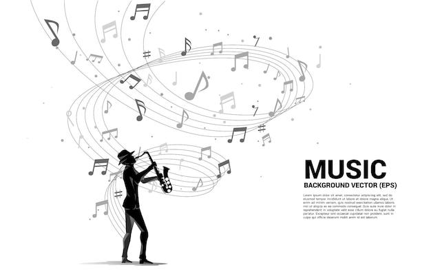 Sylwetka wektor saksofonista z nutą melodii muzyki taniec przepływu. koncepcja tło dla koncertu muzyki klasycznej i rekreacji.