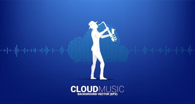 Sylwetka wektor saksofonisty koncepcja technologii muzycznej i dźwiękowej w chmurze. fala korektora w kształcie chmury