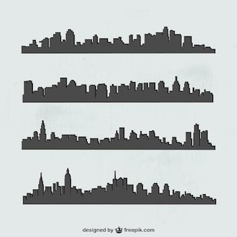 Sylwetka wektor zestaw miast