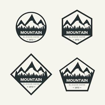 Sylwetka wektora projektu logo górskiego z kształtami