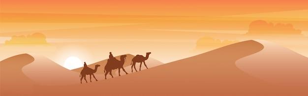 Sylwetka wielbłąda przechodzi przez pustynię.