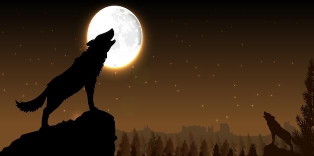 Sylwetka wilka stojący na wzgórzu