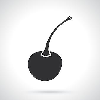 Sylwetka wiśni z łodygą szablon lub wzór ilustracja wektorowa