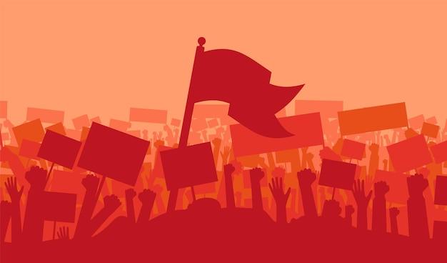 Sylwetka wiwatujący lub protestujący tłum z flagami i transparentami. protest, rewolucja, demonstranci lub konflikt. ilustracja wektorowa