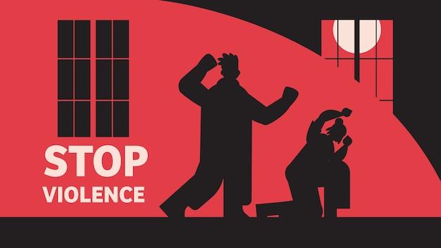 Sylwetka wściekłego mężczyzny uderzającego i uderzającego kobiety zatrzymać przemoc domową i agresję wobec kobiet na całej długości poziomej ilustracji wektorowych