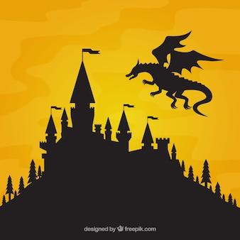Sylwetka zamku i latający smok