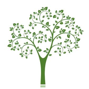 Sylwetka zielone drzewo na białym tle