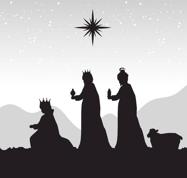 Sylwetka żłób wesołych świąt bożego narodzenia projekt