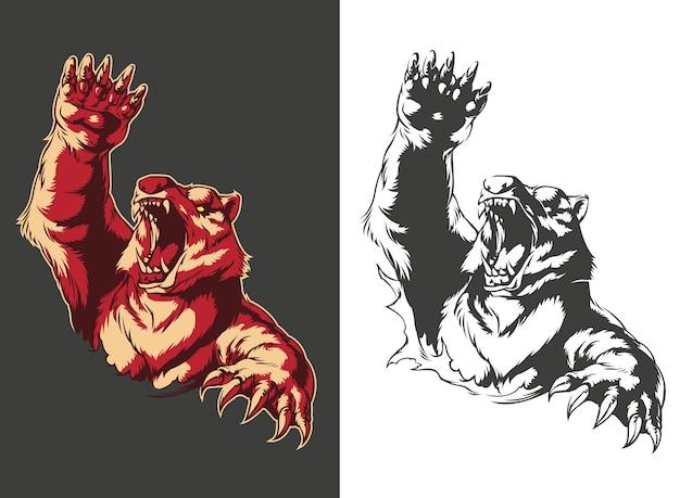 Sylwetka zły niedźwiedź atakuje ryk na białym tle, ilustracja