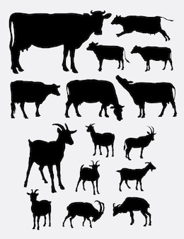 Sylwetka zwierząt gospodarskich krowy i kóz