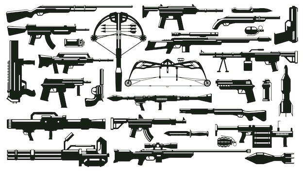 Sylwetki broni wojennej zestaw pistoletów automatycznych, granatnik, pociski, broń palna, zestaw wektorów