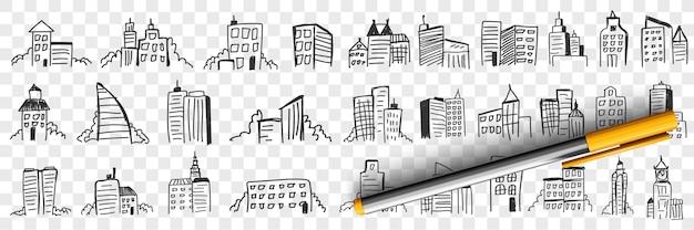 Sylwetki drapaczy chmur w mieście doodle zestaw