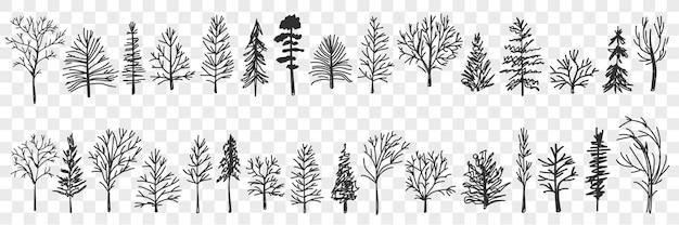 Sylwetki drzew doodle zestaw