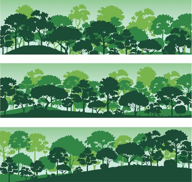 Sylwetki drzew leśnych, transparent szablon lasu krajobraz