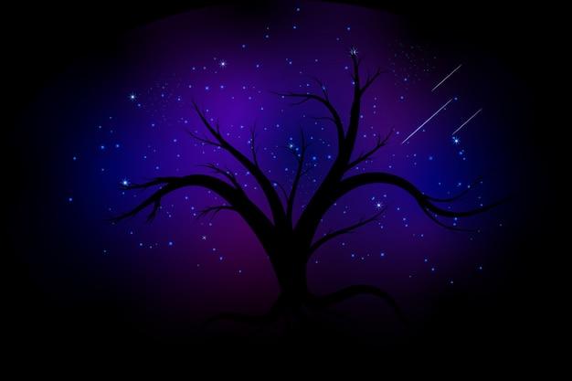 Sylwetki drzew na tle nieba i galaktyki
