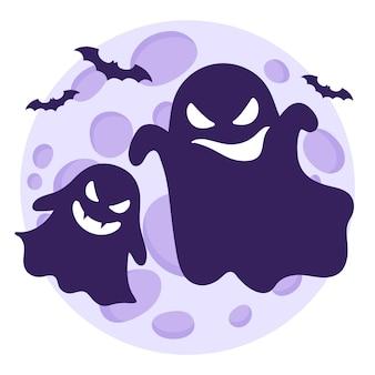 Sylwetki duchów lub straszydeł latających z różnymi emocjami na tle księżyca w pełni i nietoperzy.