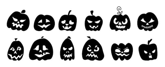Sylwetki dyni z twarzami na halloween.