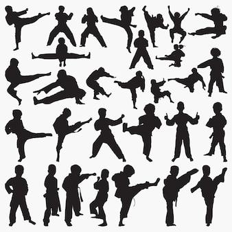 Sylwetki dzieci karate