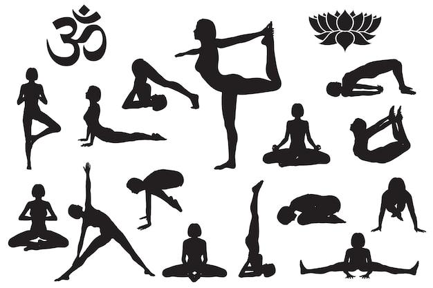 Sylwetki dziewczyny w jogi. symbol jogi om aum i kwiat lotosu. zestaw ilustracji wektorowych na białym tle