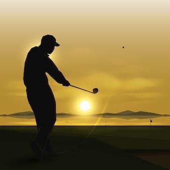 Sylwetki golfa huśtawka