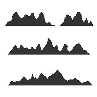 Sylwetki gór na białym tle. wektor zestaw elementów projektu na zewnątrz.