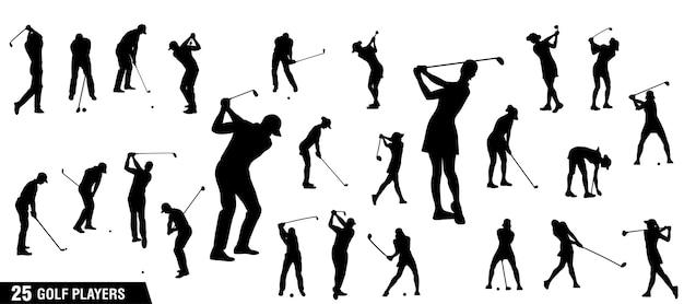 Sylwetki graczy w golfa